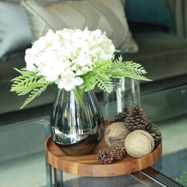 ชุดแจกันแก้วรมควัน ดอกไฮเดรนเยียพร้อมถาดไม้ 1