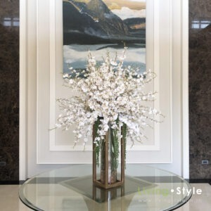 VFXL0001 / Modern Glass Orchids with gold steel stand