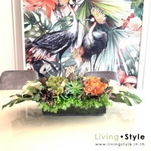 VFM0031 / Mix flowers with glass vase for dining table