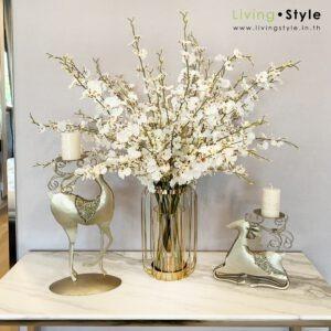 VFM0030 / Dancing Lady Flowers with Golden Stripes Vase